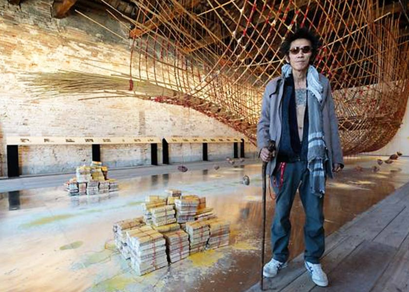 Singaporean artist Zai Kuning with his installation Dapunta Hyang: Transmission of Knowledge at the Singapore Pavilion. Singapore National Arts Council / Channel News Asia