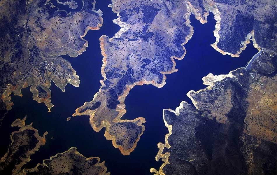 top, view, aerial, reservoir, drought-affected, New South Wales, Australian Bureau of Meteorology, Australia