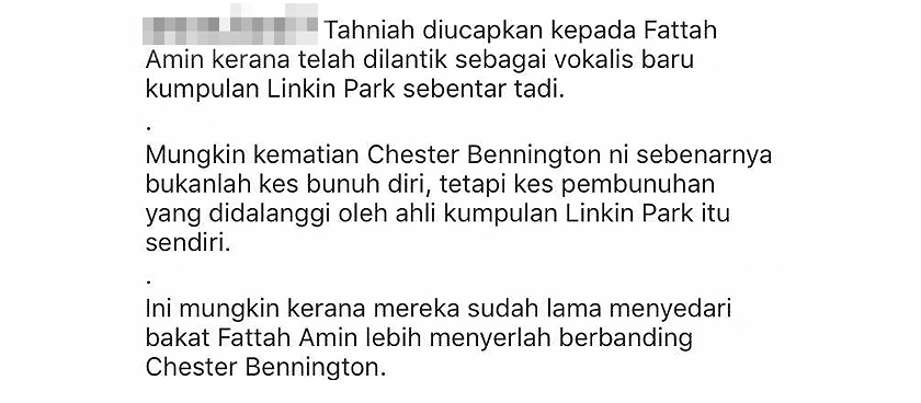 Kapsyen yang dimuat naik sebuah laman sosial buat peminat Linkin Park tidak puas hati.