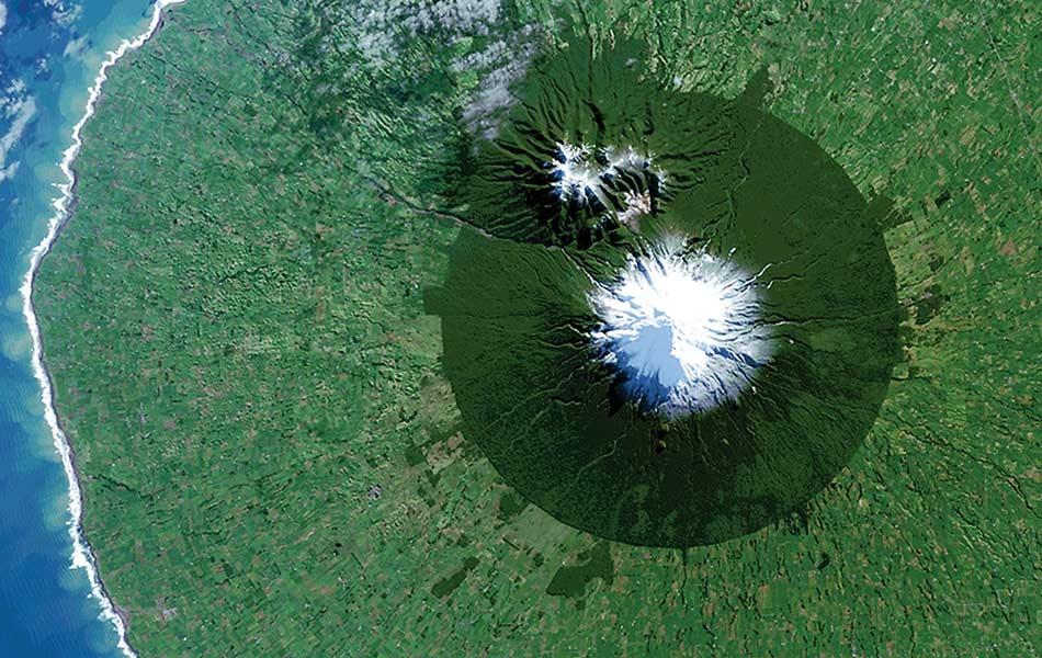 top, view, aerial, Egmont National Park, New Zealand, Mt. Taranaki, Landsat 8 satellite