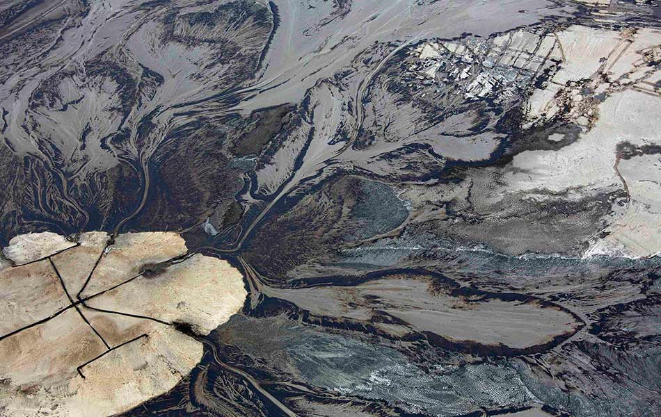 top, view, aerial, oil, tailings pond, Suncor oil sands, Fort McMurray, Alberta