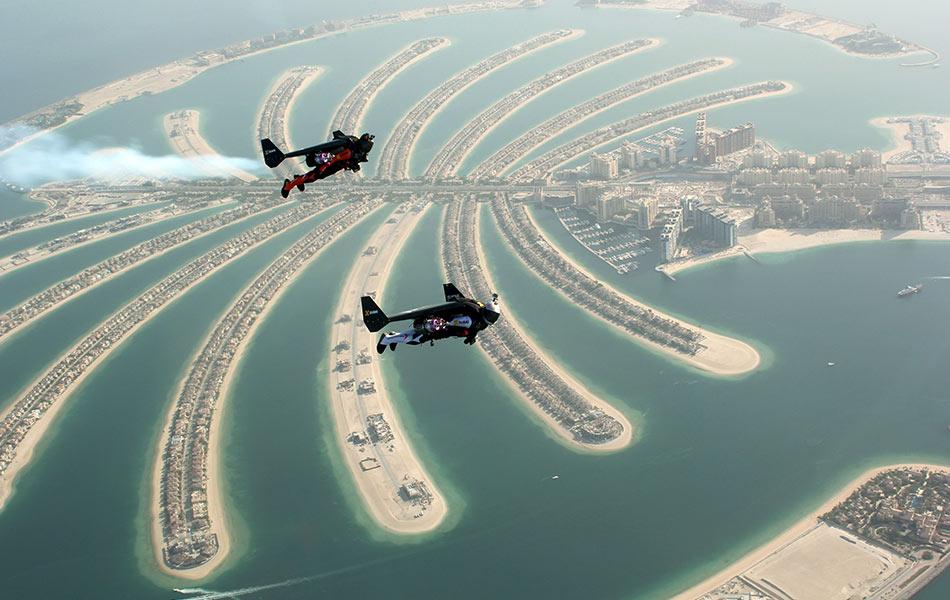 top, view, aerial, sea plane, Swiss pilot, Jetman Yves Rossy, Vince Reffett, Dubai's Palm Island, Dubai, United Arab Emirates