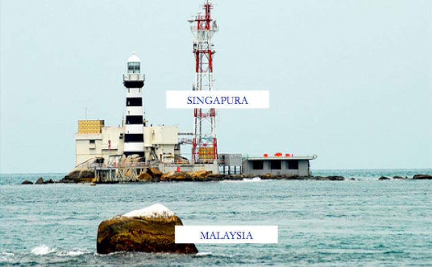 Jarak di antara Malaysia dan Singapura di kawasan Batu Puteh (Sumber: Rusli, 2014)