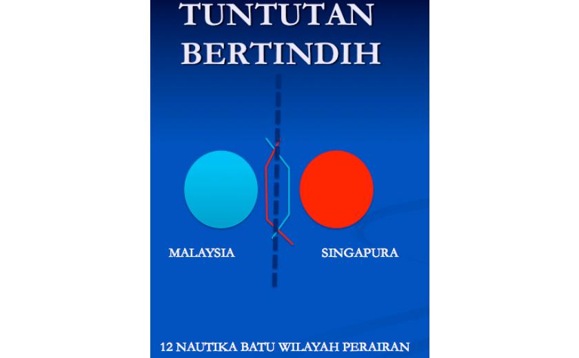 Senario Tuntutan Bertindih (Garis merah tuntutan Singapura, Garis Biru tuntutan Malaysia)
