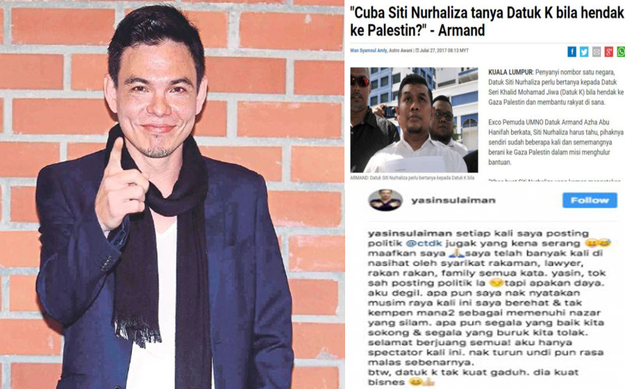Minta maaf, kerana posting saya Datuk Siti yang kena serang - Yasin Sulaiman
