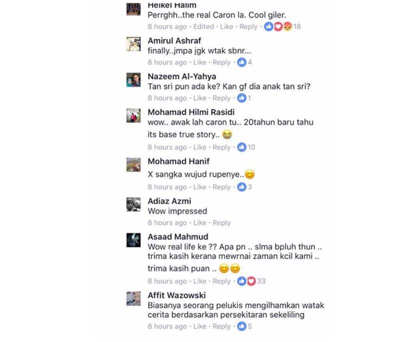 Caron iaitu watak setiausaha dalam komik berkenaan telah mengesahkan perkara itu ketika memuat naik ucapan takziah di laman Facebook Allahyarham.
