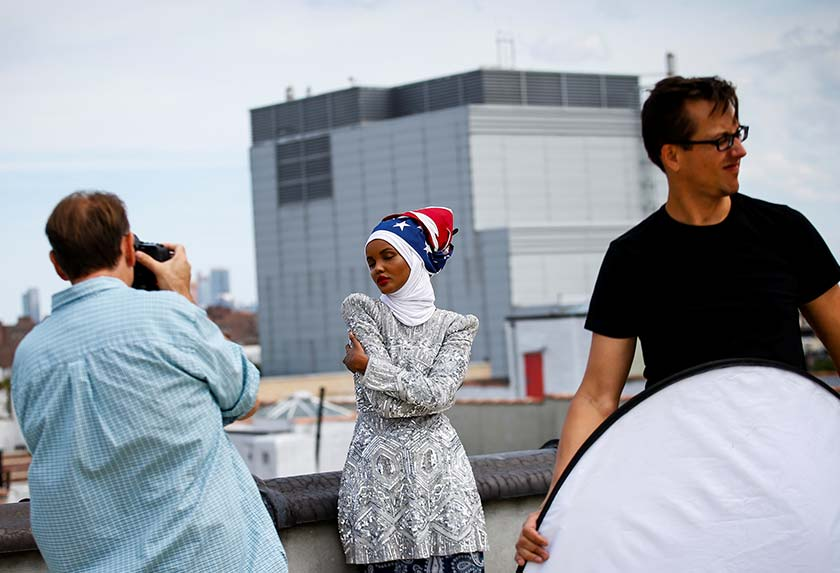 Halima poses during a shoot at a studio in New York City on Aug 28, 2017. - REUTERS