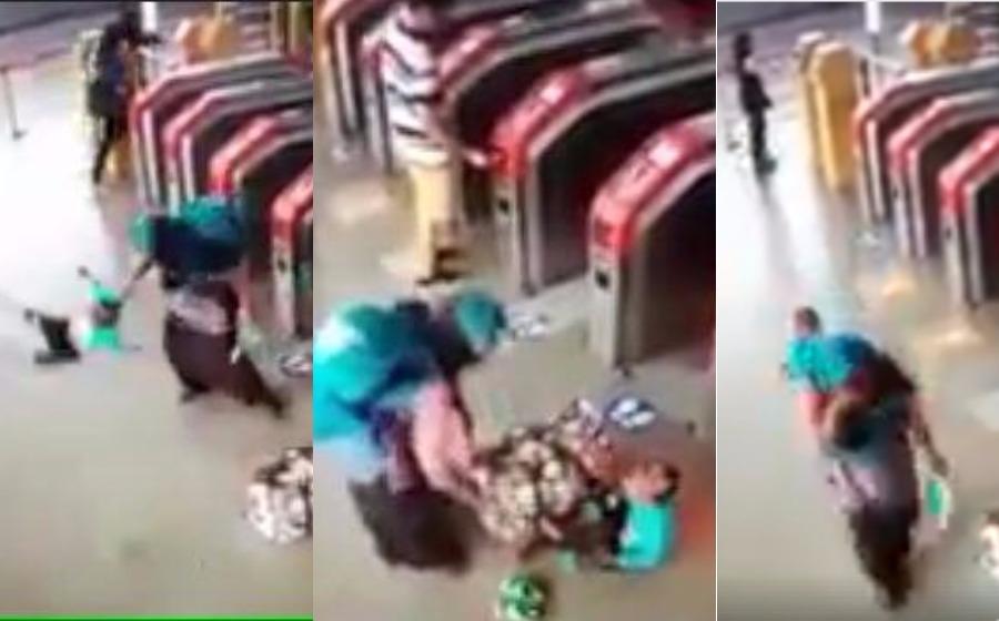 Netizen kecam wanita sepak terajang anak kecil di stesen LRT