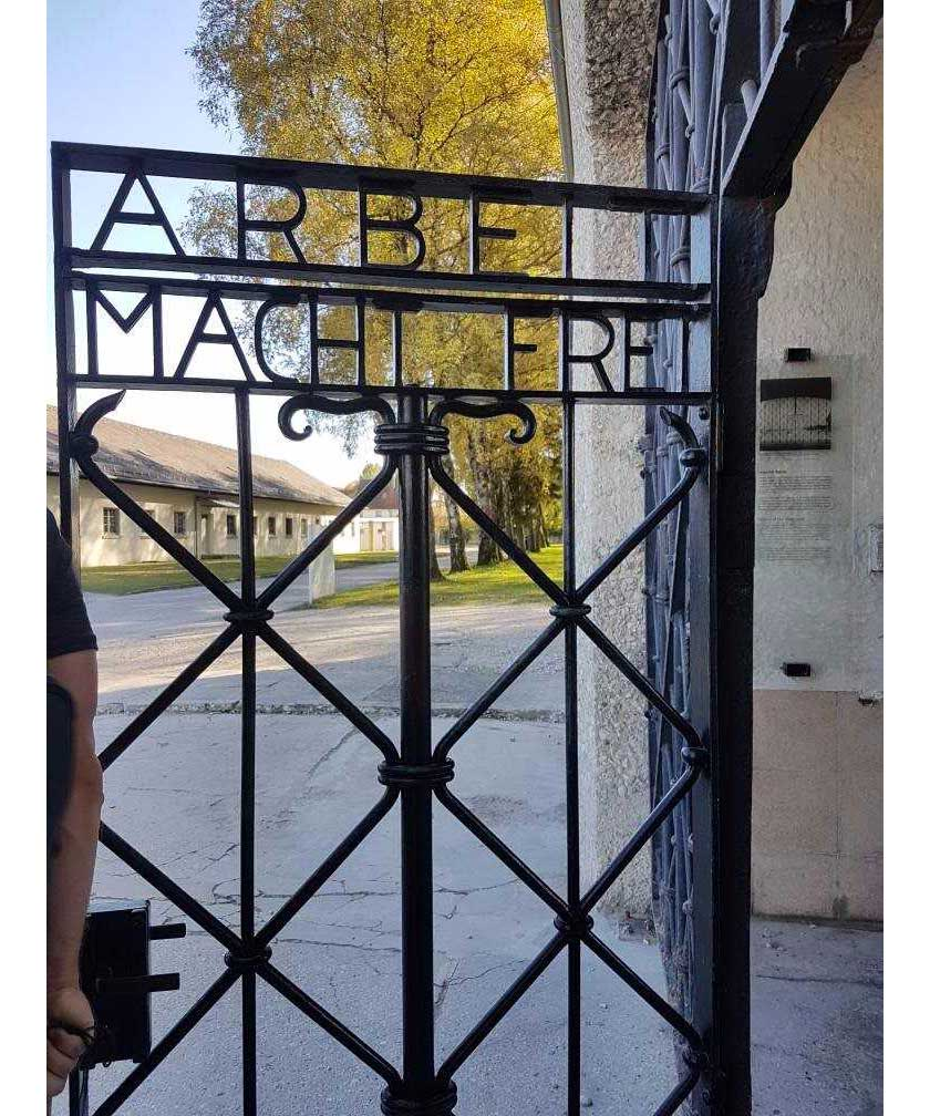 "The words ""Arbett Macht Frei"" or ""work shall set you free"" are proudly displayed at the gates of the Dachau centre in Germany."