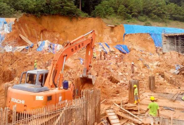 At least three people have been killed in a landslide incident at a construction site in Tanjung Bungah, here, this morning.
