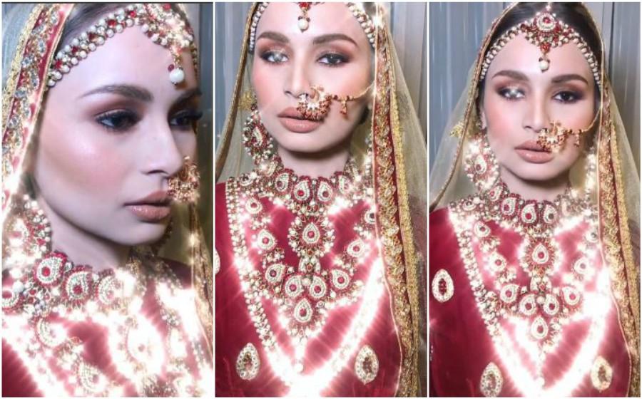 Izara Aishah cantik macam 'mannequin' di malam berinai