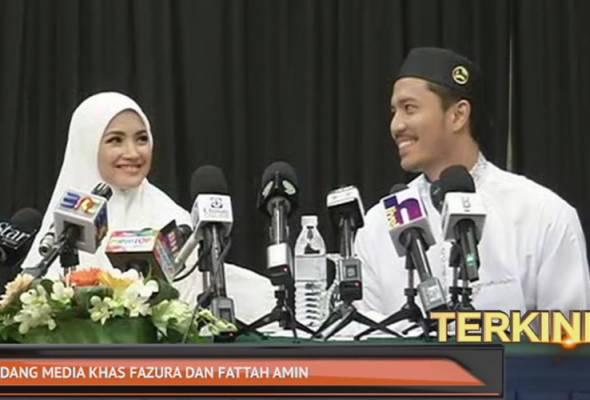 """""""Kami tidak bernikah di Mekah"""" kata Fattah Amin di sidang media khas Fazura di sebuah hotel terkemuka di sini petang tadi."""