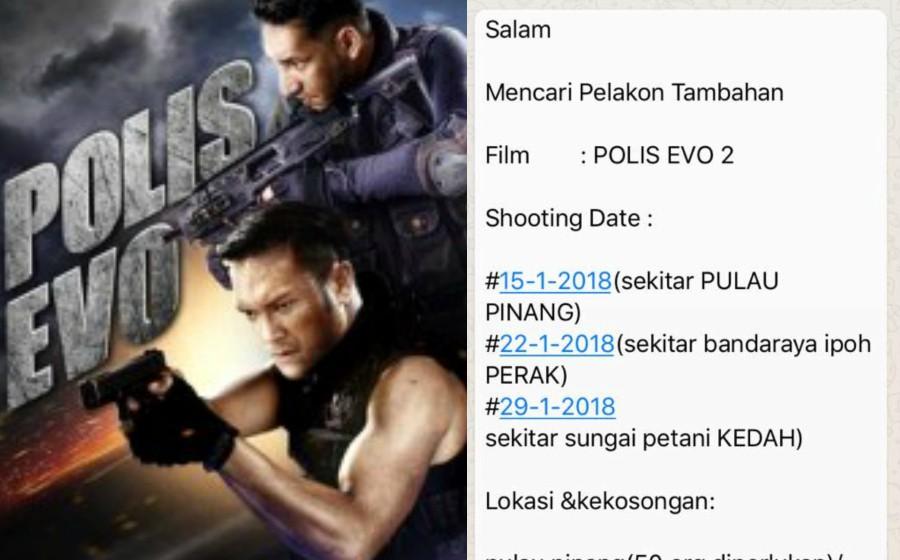 Jangan percaya berita palsu, tiada 'casting' Polis Evo 2 sepanjang Januari