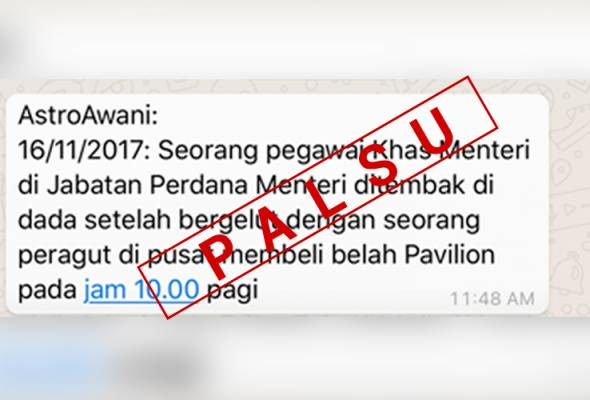 'Fake news': Semalam lapor, hari ini Astro AWANI jadi mangsa