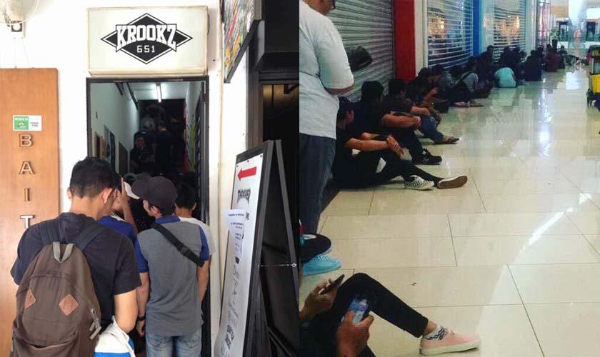 Orang ramai beratur panjang beberapa jam sebelum kedai buka untuk mendapatkan kasut signature colorway Vans Padin Musa. Gambar - Nizar Hashim.