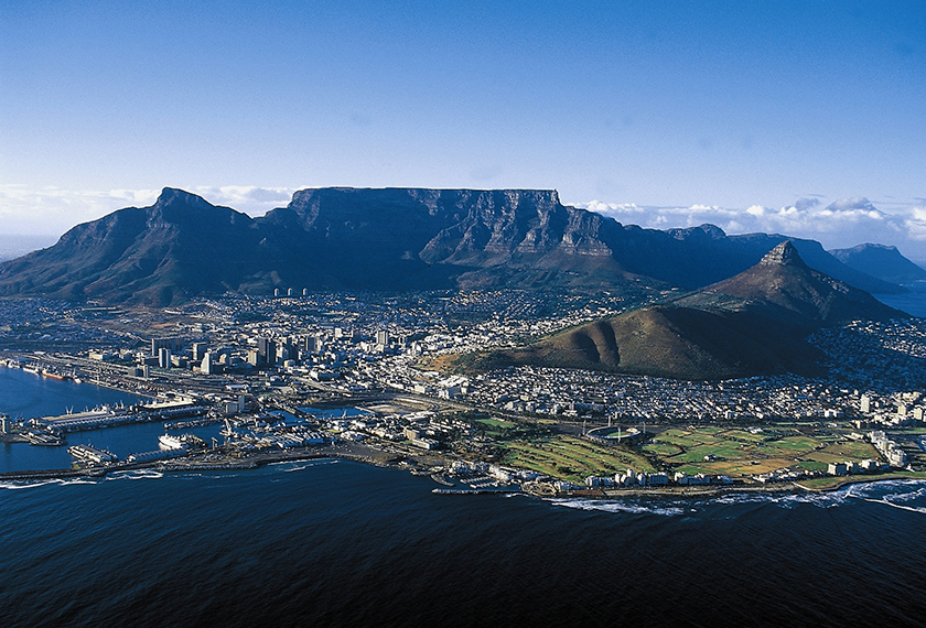 Table Mountain overlooks the coastal city of Cape Town, South Africa.