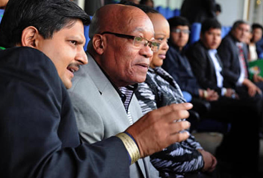Indian-born South African, Atul Gupta, with President Jacob Zuma at the Bidvest Wanderers Stadium in Johannesburg. Photo by GCIS South Africa