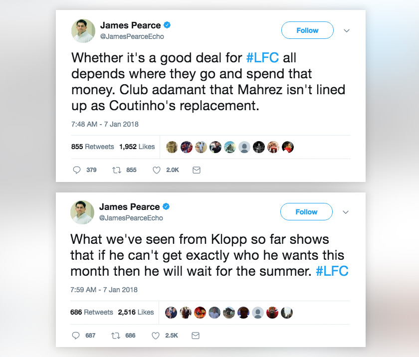 Kenyataan wartawan Liverpool FC, James Pearce menerusi Twitter