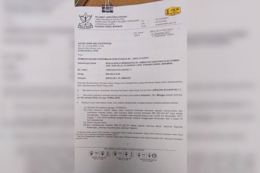 peruntukan sejumlah RM462,414.40 telah diluluskan JKR dengan arahan kerja baik pulih akan bermula pada 8 Januari dan berakhir 18 Mac 2018.