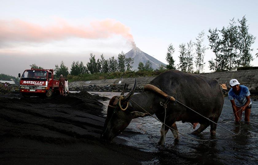 Quitin Velardo, 59, seorang petani mahu pulang ke kampungnya bagi memastikan keselamatan kerbaunya. - Reuters