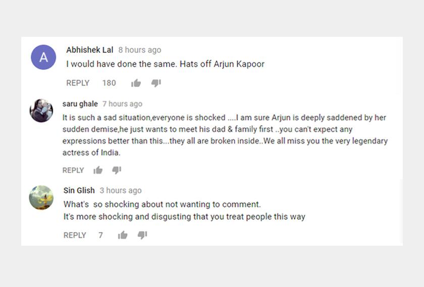Antara komen netizen yang menyifatkan media tempatan tidak punya rasa belas kassian terhadap Arjun Kapoor.Sumber: Youtube