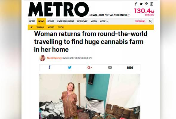 Rumahku kini ladang ganja, wanita UK ini terkejut besar