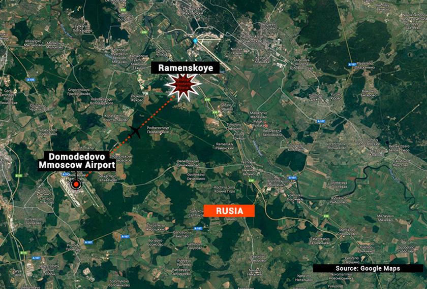Pesawat Antonov AN-148 yang terhempas itu sedang dalam perjalanan menuju bandar Orsk. - Astro AWANI