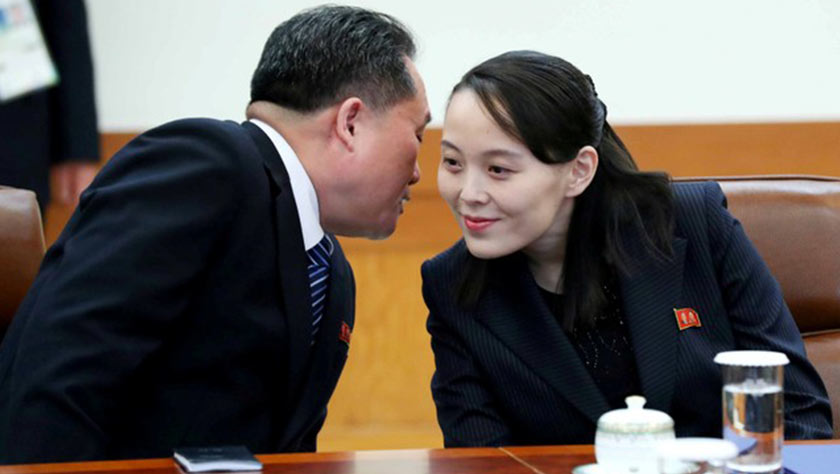 Ri Son-kwon, chairman of the Committee for the Peaceful Reunification of the Fatherland whispers to Kim Yo Jong, the sister of North Korea's leader Kim Jong Un before their meeting at the Presidential Blue House in Seoul, South Korea, Feb 10, 2018. - Yonhap via REUTERS