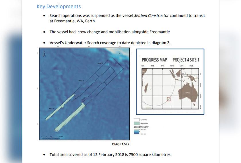 Perkembangan terbaharu pencarian daripada laporan mingguan yang dimuat naik di laman web rasmi pencarian MH370 bertarikh