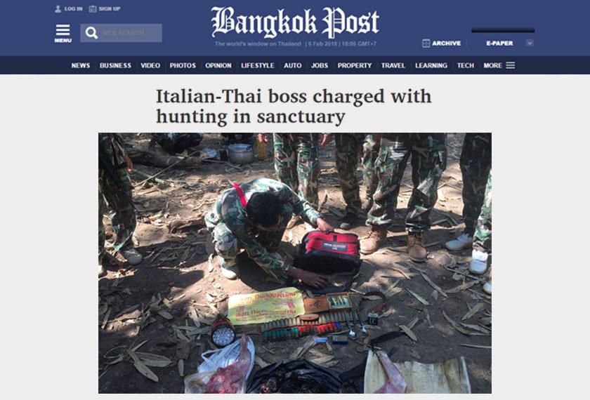 Premchai ditahan bersama beberapa bangkai haiwan terlindung yang sudah menjadi korbannya. - Bangkok Post