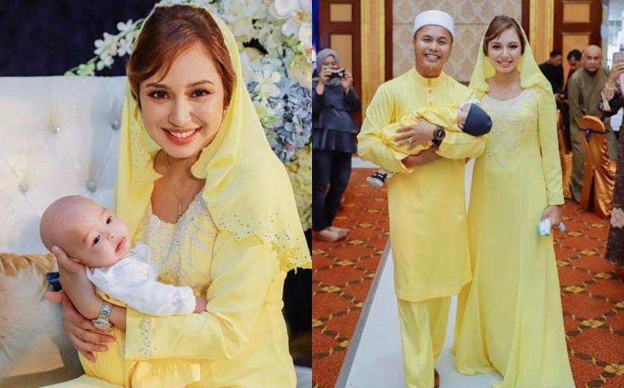 Tak perlu solekan tebal, isteri Hafiz Suip tetap cantik di majlis cukur jambul