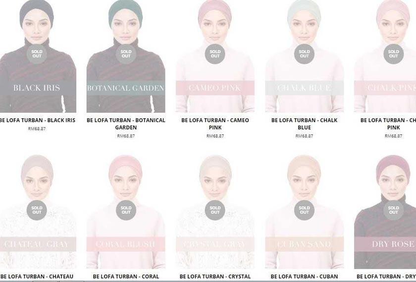 Kesemua 45 warna yang dihasilkan untuk koleksi  yang dijual pada harga RM73 dan RM75 itu telah disenarai sebagai sold out. - naelofarhijab.com