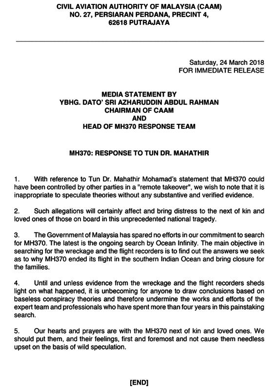 Kenyataan media Civil Aviation Authority of Malaysia (CAAM) berhubung dakwaan Tun Dr Mahathir.