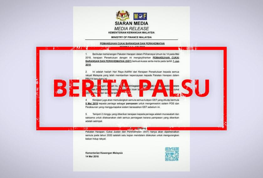 Berdasarkan satu kenyataan tular yang menyalahgunakan nama Kementerian Kewangan Malaysia hari ini menyebut cukai GST akan dimansuhkan 1 Jun depan.