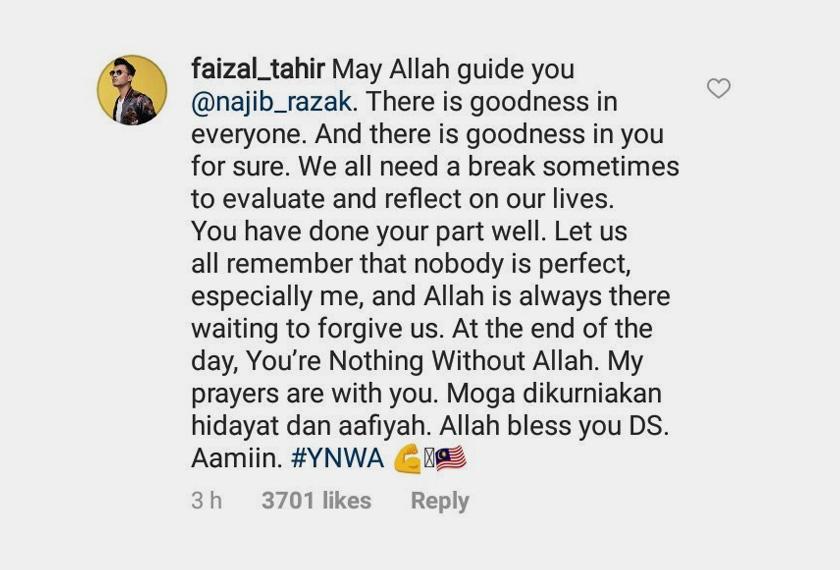 Faizal Tahir mendoakan bekas PM, Datuk Seri Najib Razak agar sentiasa berada dalam bimbingan Allah selain menyarankan beliau untuk bermuhasah diri. -Foto Instagram Najib Razak
