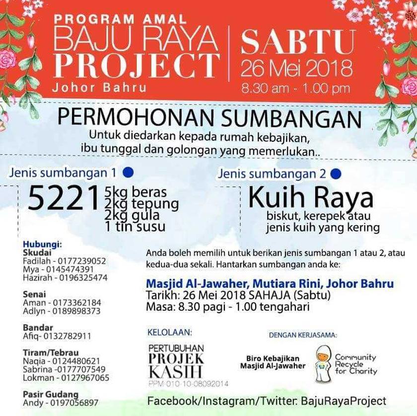Buat warga JB, sumbangan anda boleh dihantar ke Masjid Al-Jawaher, Mutiara Rini, Johor Bahru