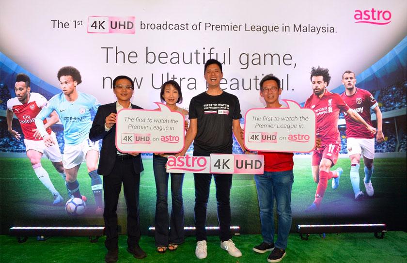 Ketua Bahagian Sukan Astro, Lee Choong Khay bersama rakan niaga dari Sharp Electronics (Malaysia) Sdn Bhd, Restoran Souled Out dan Samsung Electronics.