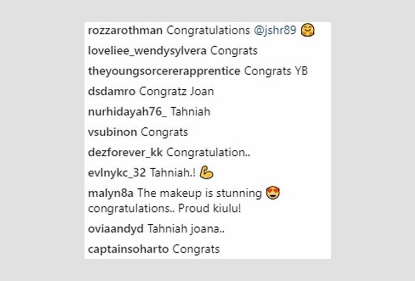 Antara ucapan tahniah dari pengikut-pengikut Jo-Anna di Instagram