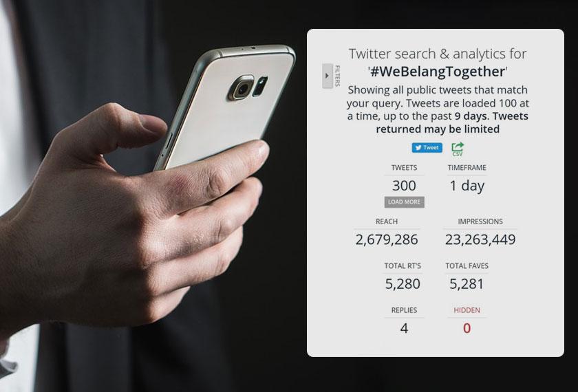 Statistik penggunaan hashtag #WeBelangTogether terus meningkat.