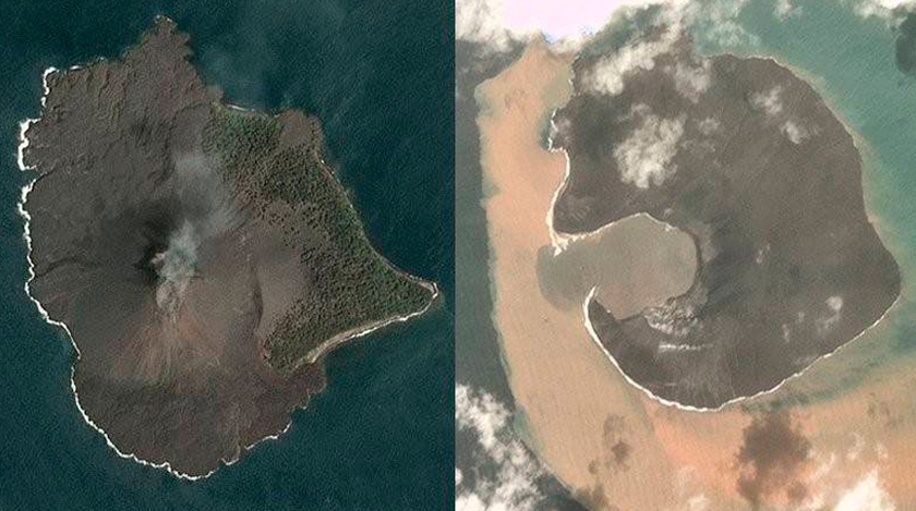 Anak Krakatau yang diambil pada 17 Disember menunjukkan keadaan gunung berapi itu sebelum ia meletus beberapa hari kemudian. Gambar kanan: Gunung berapi tersebut kehilangan dua pertiga daripada ketinggiannya. - Foto Planet Labs