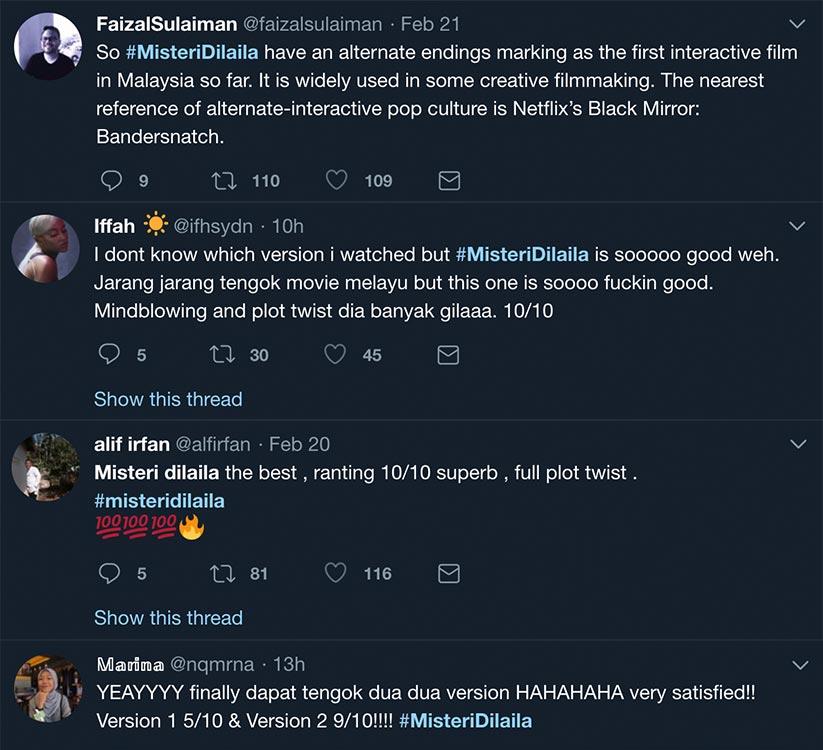 Antara reaksi dan rating filem yang diberi netizen di Twitter selepas selesai menonton filem Misteri Dilaila.