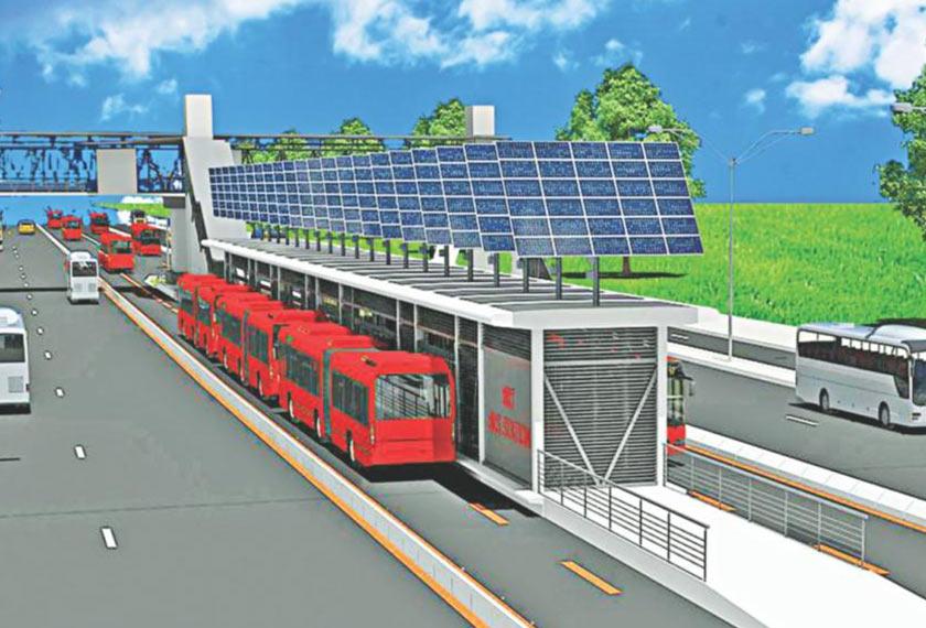 Lakaran lukisan menunjukkan lorong khas dan laluan berpusat dengan mengaplikasikan teknologi terkini menjadikan BRT salah satu pengangkutan awam yang efisien dan selamat