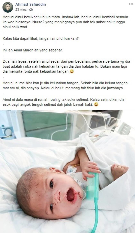 Entri terkini keadaan Ainul oleh bapanya, Ahmad Safiuddin di laman Facebook peribadinya.
