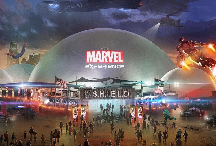Ilustrasi peminat berkenaan taman tema Marvel Land