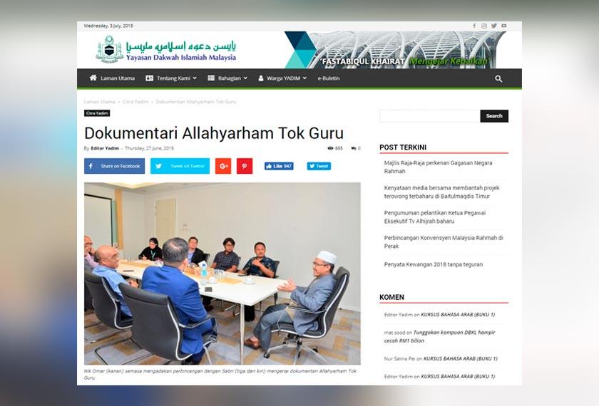 Laman web Yadim memuatkan laporan mengenai penerbitan dokumentari Allahyarham Nik Aziz Nik Mat.