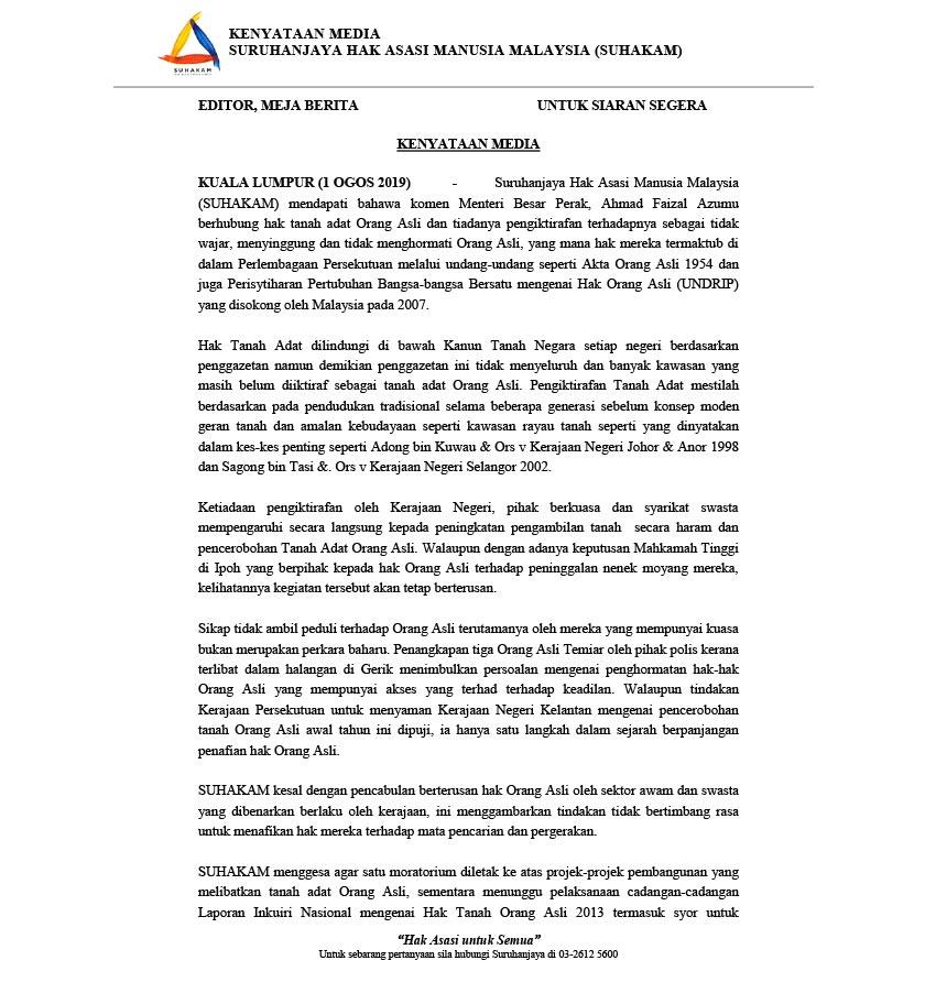 Kenyataan media yang dikeluarkan SUHAKAM pada 1 Ogos 2019