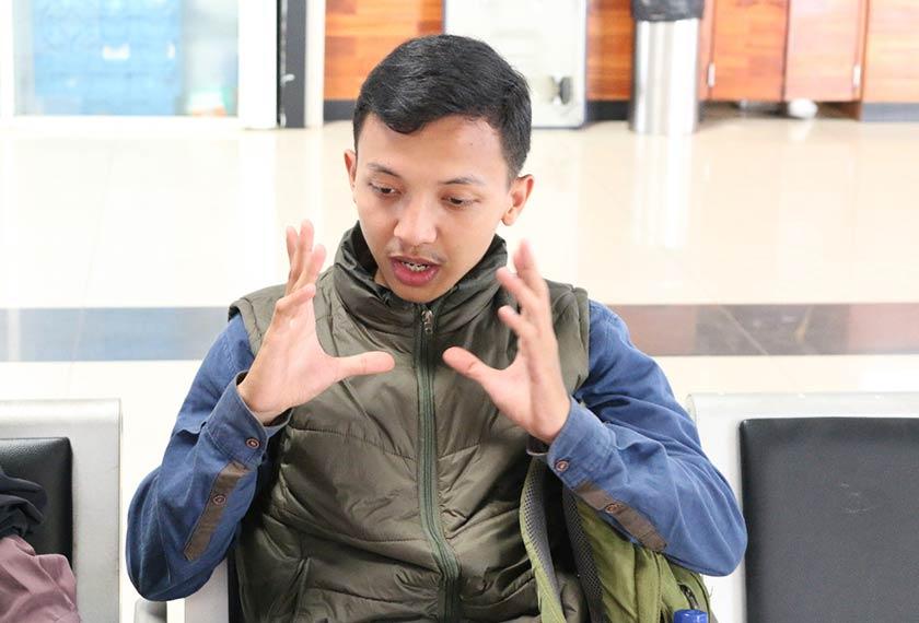 Hamzah Mustaffa, pelajar Universiti Pamulang di Jakarta, mengambil bahagian dalam demonstrasi dari 23 hingga 30 September. Pasukan Ceritalah