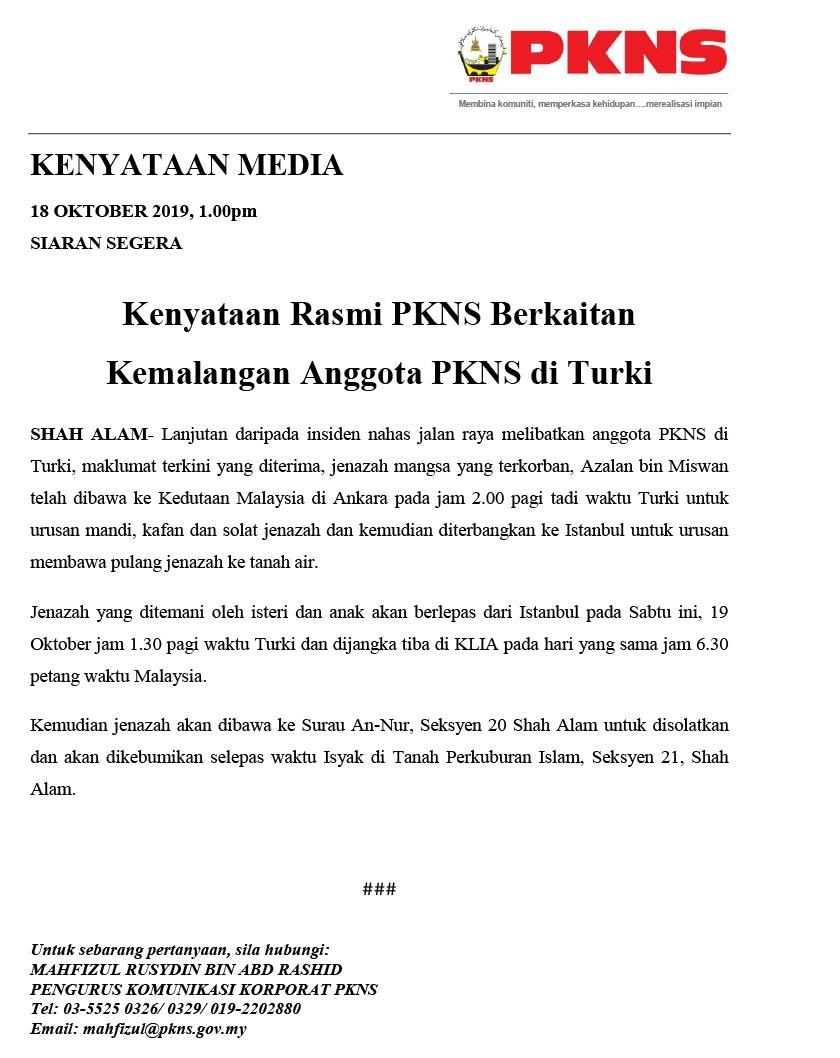 Kenyataan media PKNS berhubung insiden kemalangan bas di Turki yang mengorbankan seorang kakitangan mereka.