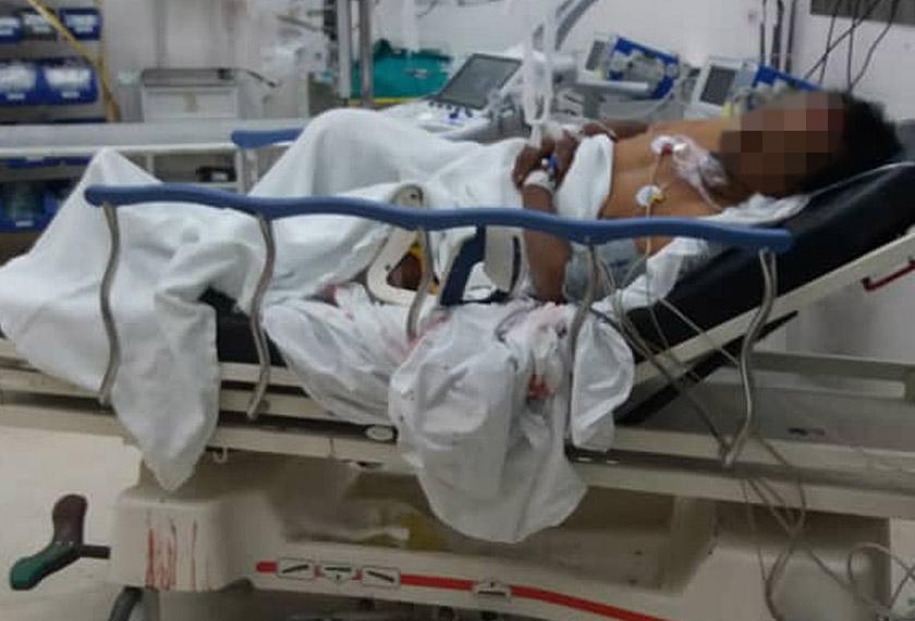 Mangsa dikejarkan ke Hospital Pulau Pinang (HPP) dan dilaporkan masih berada dalam keadaan kritikal. - Foto PDRM