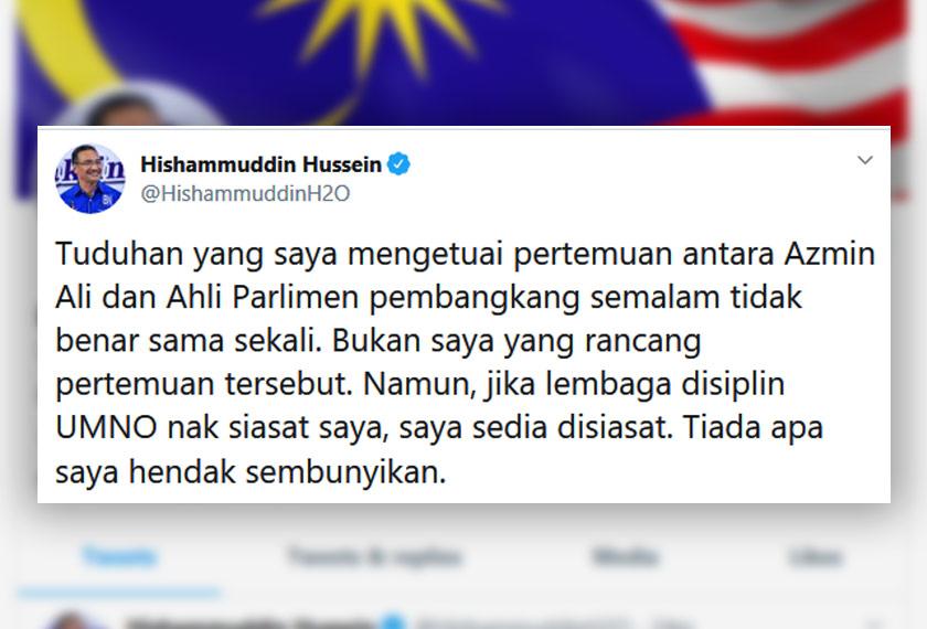 Muat naik Hishammuddin di laman Twitter